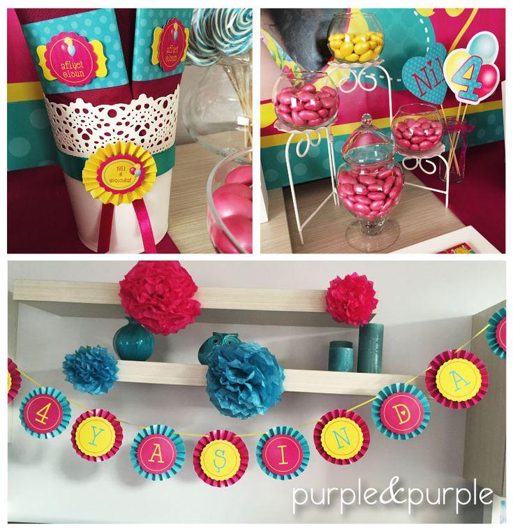 Şeker Büfesi Dekorasyonu | Doğum Günü Banner | Fuşya Turkuaz ve Sarı Doğum Günü | 4 yaş doğum günü | Parti Fikirleri | Rozet Banner | Peçete Sargısı