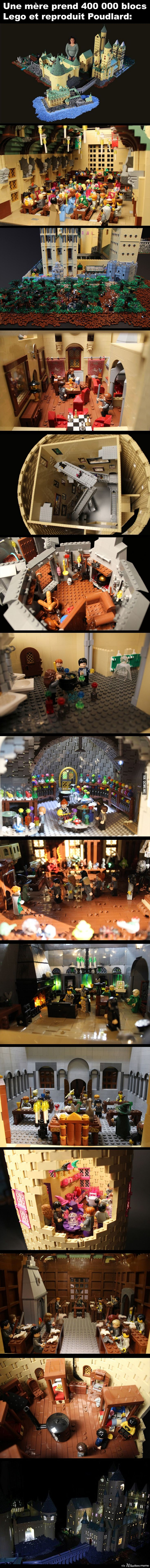 Une mère prend 400 000 blocs Lego et reproduit Poudlard avec tous les détails: