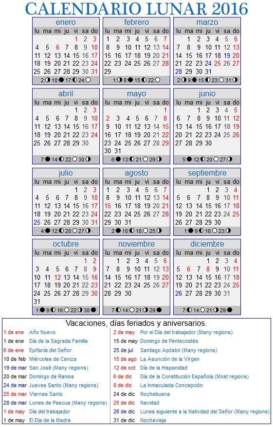 Calendario Lunar 2016 para España
