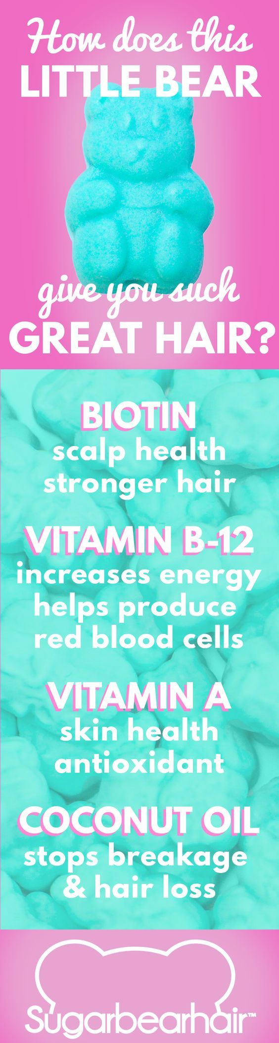 How does a tasty little gummy bear have so many nutrients essential for hair growth? Try one today and find out! 100% vegetarian and 100% delicious!