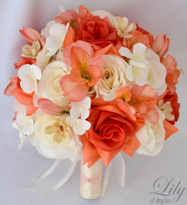 """17pcs Wedding Bridal Bouquet Silk Flower Decoration Package CORAL IVORY ORANGE """"Lily of Angeles"""" (for only 209.99)"""