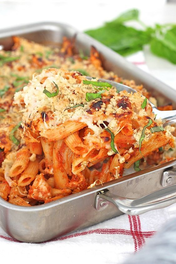 Chicken Parmesan Casserole - no boiling pasta or breading chicken to make this casserole spin on classic chicken parmesan.