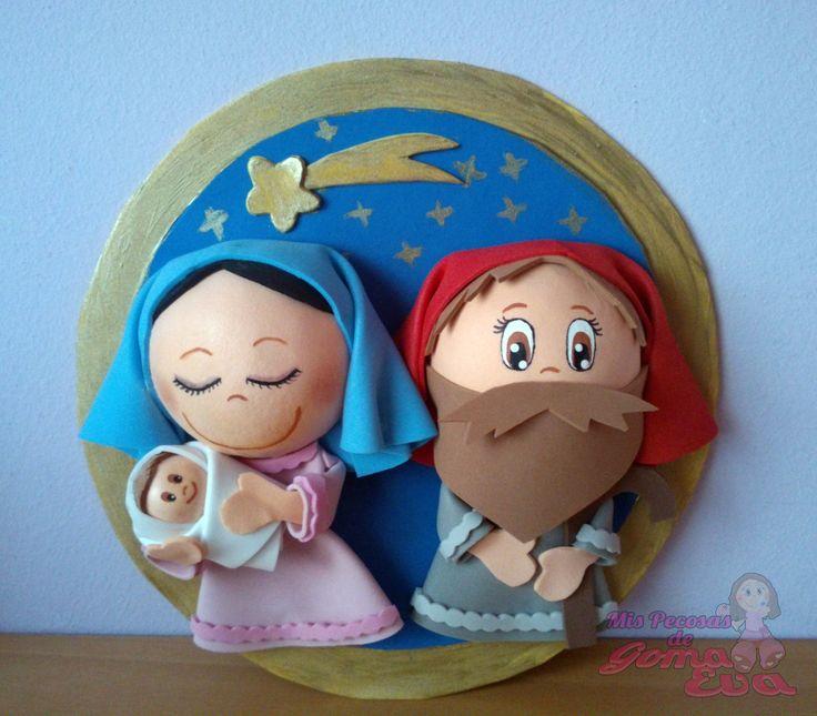 Nacimiento Fofucho. María con el niño y José.                                        *Contactar conmigo en: mispecosasdegomaeva@gmail.com*       *Visita mi blog: http://mispecosasdegomaeva.blogspot.com.es*    *Visitame en facebook: https://www.facebook.com/pages/Mis-Pecosas-de-Goma-Eva/629793133752587*