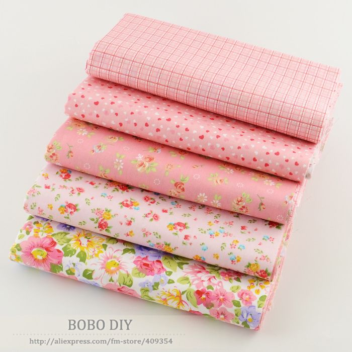 5PCS  40cmx50cm pretty pink floral cotton fabric fat Quarter quilting patchwork telas tissus  for sewing clothes bedding