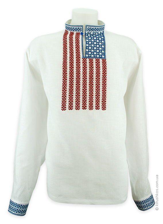 Рубашка вышиванка с американским флагом - Товары - Заказать мужские, женские и детские вышиванки в Украине - Укрбизнес