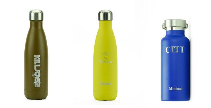 Minimal insulated water bottle - custom label
