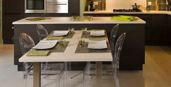 Ilot central table escamotable cuisine pinterest - Ilot cuisine avec table coulissante ...
