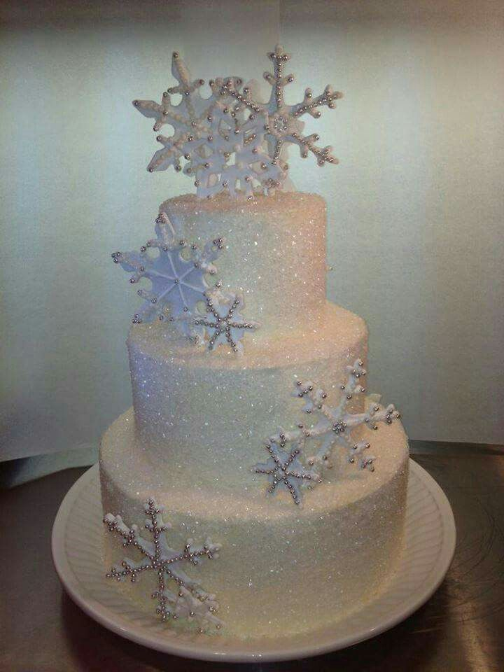 Snow Flake Sanding Sugar Winter Theme Cake Could Even