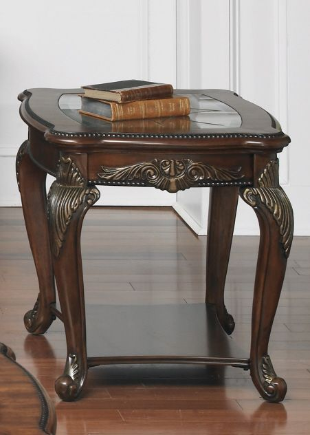 Best Traditional End Table With Glass Top And Shelf In A Rich 640 x 480