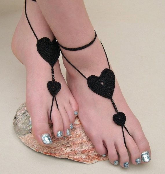 Black Barefoot Sandals - Crocheted Heart Anklet - Foot Jewelry - Beach Wedding - Soleless - Bridesmaid accessory - Yoga - Sexy Jewelry via Etsy