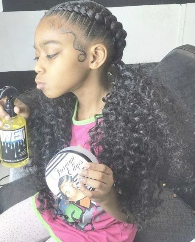 French Braids With Black Curls Natural Hair Styles Two French Braids Kids Hairstyles