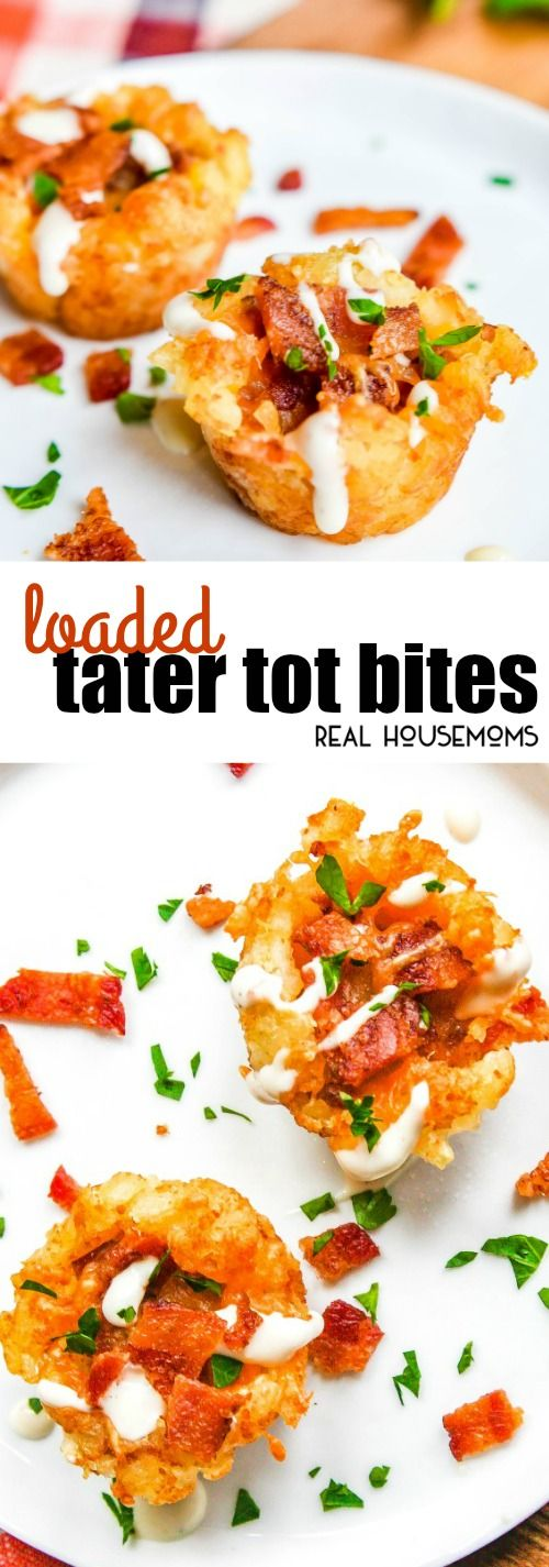 Loaded Tater Tot Bites are crisp tater tot cups filled with your favorite loaded baked potato ingredients! via @realhousemoms