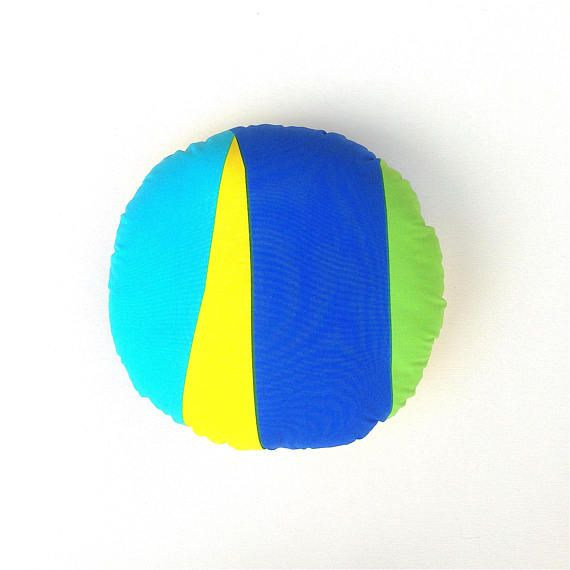 Marimekko Cushion Cover. Blue. Green. Yellow. Round Cushion.