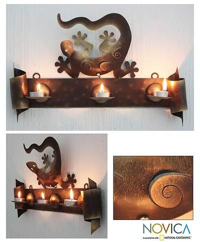 Iron candleholder, 'Happy Gecko' - Handcrafted  Steel Lizard Wall Sconce Candleholder (image 2)