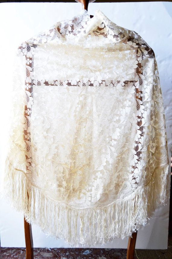 broken white floral scarf by Limbhad on Etsy