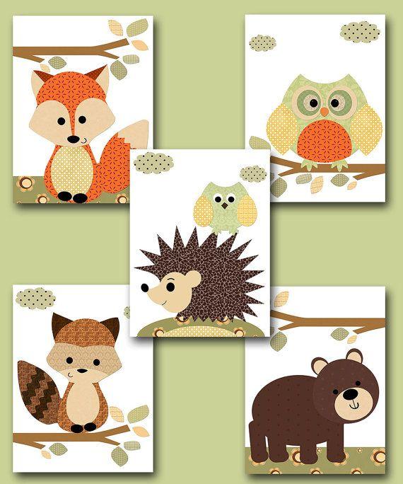 Fox Nursery Owl Nursery Baby Boy Nursery Art by artbynataera