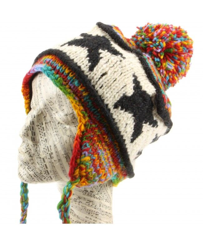 LOUDelephant Wool Knit Star Earflap Bobble Hat - Rainbow Space Dye