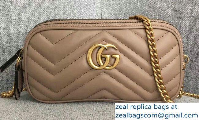 d6a0eff4b5e Gucci GG Marmont Mini Chain Bag 546581 Nude 2018