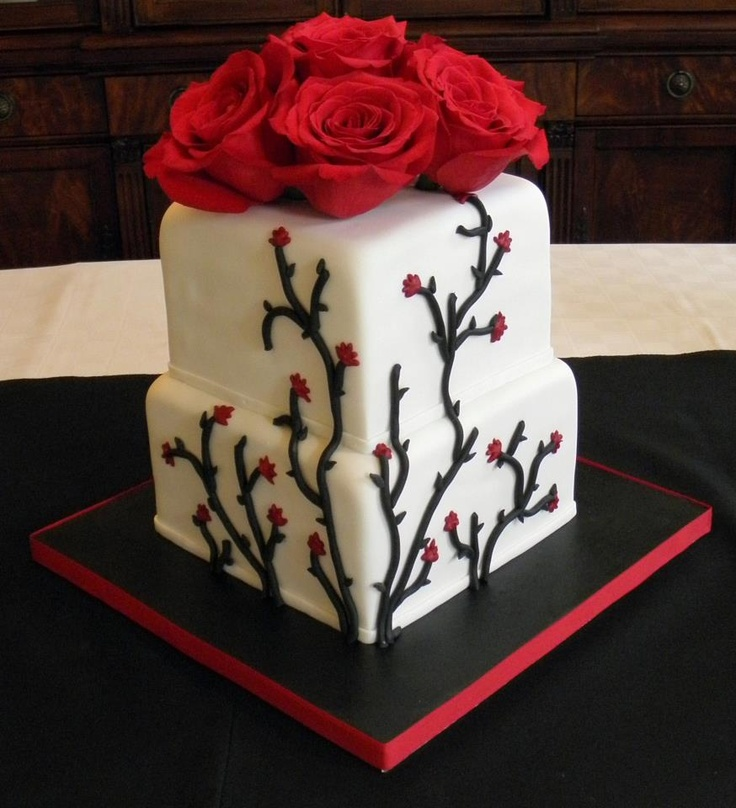 Red and black: Cakes To, Cakes Decoratingg, Decor Cakes, Awesome Cakes, Red Rose, Cakes Mi Obsession, Cupcakes Cak, Cakes Bak, Rose Cakes