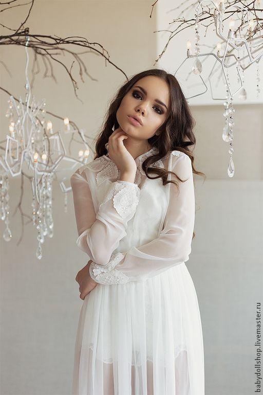 Платье SS15 – купить или заказать в интернет-магазине на Ярмарке Мастеров | Длинное полупрозрачное платье в пол с кружевным…