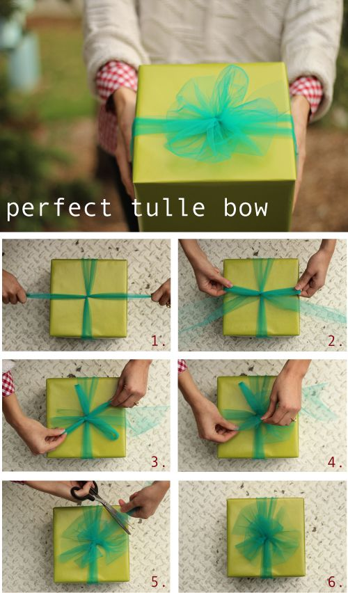 For the Christmas party, we should wrap Christmas presents in gold paper and wrap with red and green tulle bows as decor