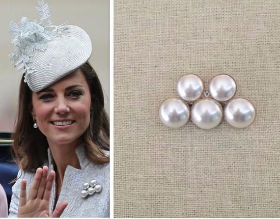 Kate Middleton White Pearl Sterling Silver Five Pearl