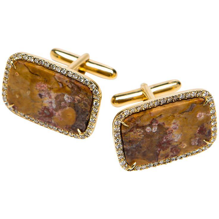 Kimberly McDonald Agate Diamond Gold Cufflinks   From a unique collection of vintage cufflinks at https://www.1stdibs.com/jewelry/cufflinks/cufflinks/