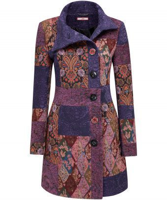 """Add a regal touch to your outfit with this stunning coat. The jacquards were inspired by English country homes. With statement buttons and a wrap collar, you'll feel remarkable every time you wear it. Approx Length: 90cm Our model is: 5'7"""""""