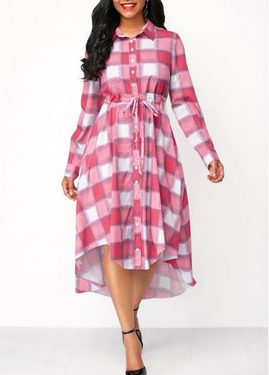 Drawstring Waist Long Sleeve Plaid Dress on sale only US$37.26 now, buy cheap Drawstring Waist Long Sleeve Plaid Dress at liligal.com