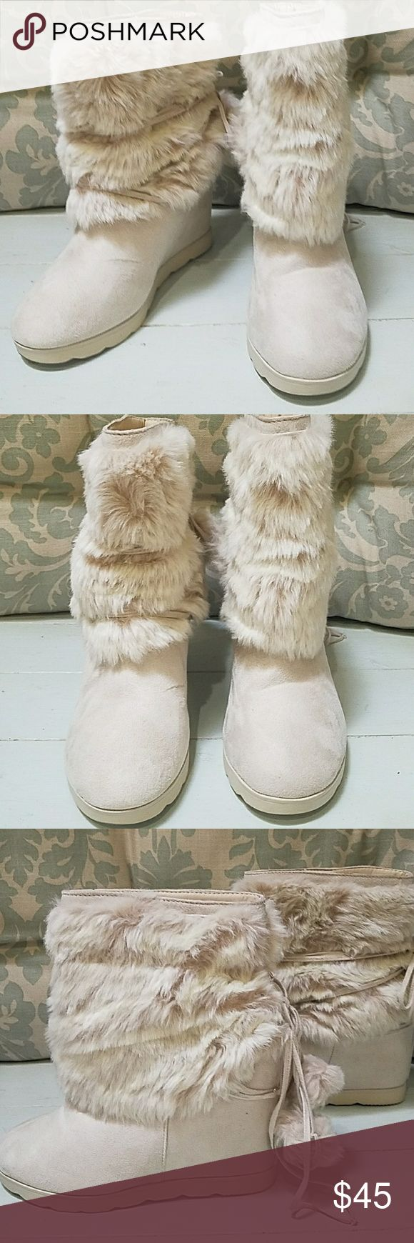 Details about women luxury diamond fashion snow boots rabbit fur boots - Justfab Winter Furry Boots With Pom Poms