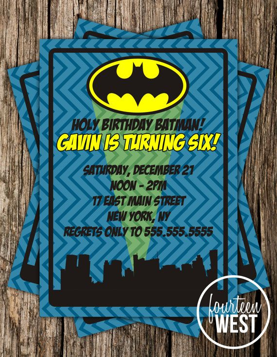 ON SALE Batman Birthday Invitation Printable by FourteenWest, $5.95