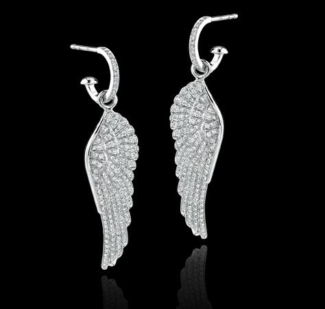 Pavé diamond and white gold, hoop drop earrings. Earrings Jewellery Garrard