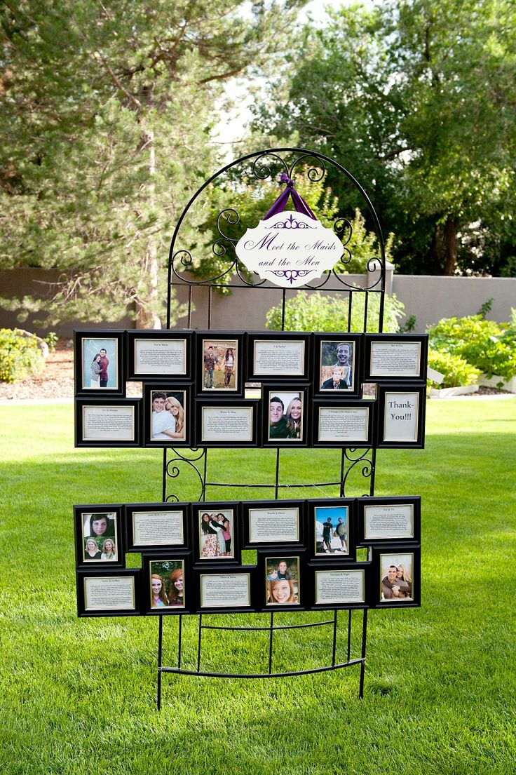 Meet the Maids and Men. Display pictures and descriptions for them and guests to see! Saw this at a rehearsal dinner recently and I loved it!!