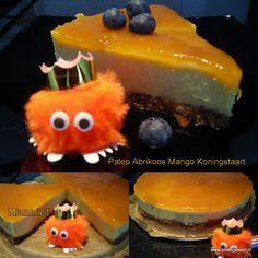 Paleo Abrikoos, Mango Koningstaart  Puur, gezond en zuivel & gluten vrij. Zonder geraffineerde suikers!    Heerlijke fris zoete abrikozen, mango taart