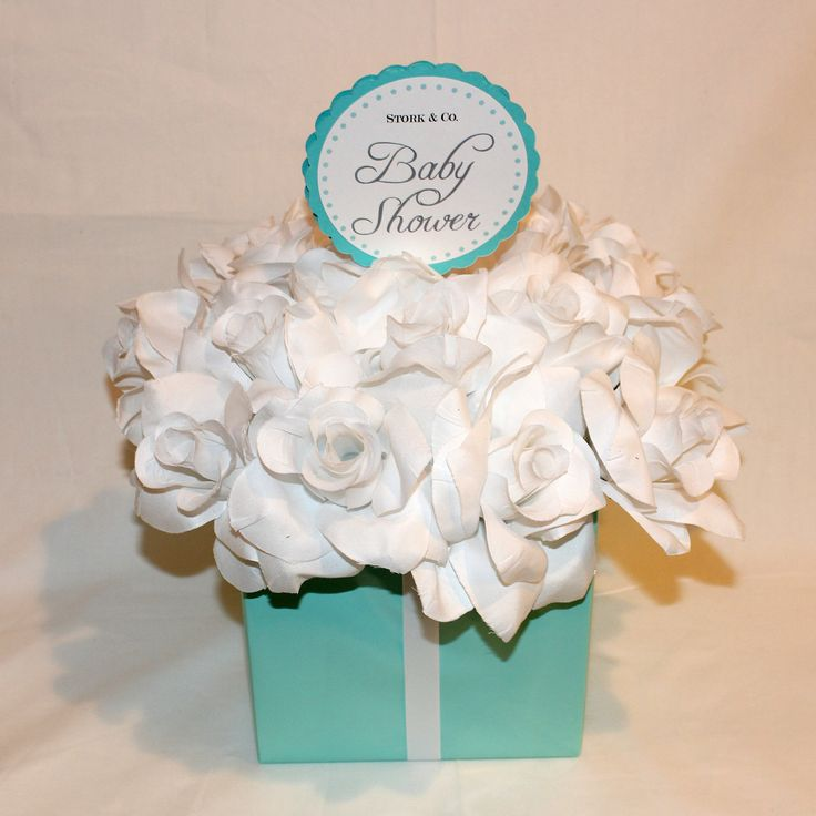 Baby Shower Centerpiece   Tiffany Co. Inspired Flower Box Centerpiece. Via  Etsy.
