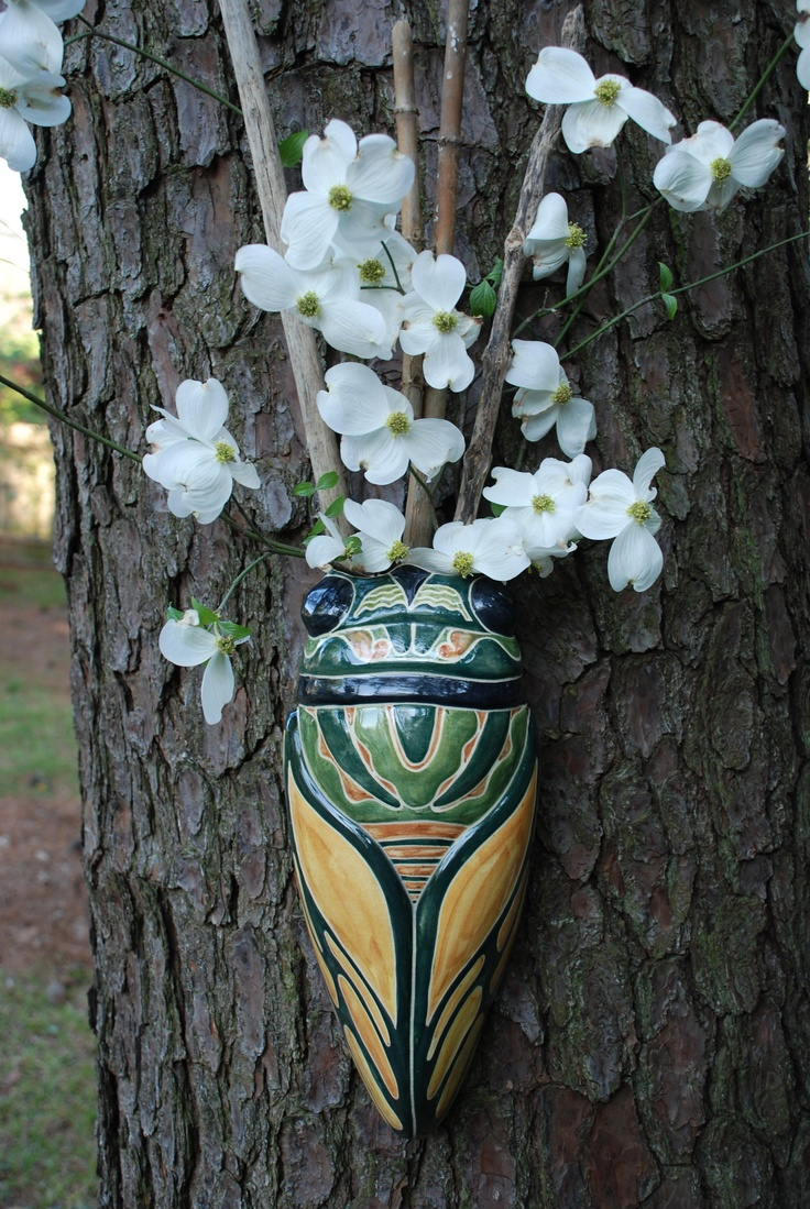 173 best vintage wall pocketsvases images on pinterest vintage shearwater pottery cicada wall pocket mac anderson design photo by dan magee reviewsmspy