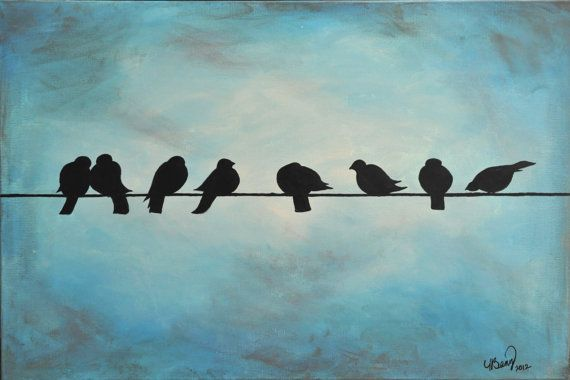 Birds On A Wire Acrylic Painting by ArtbyBany on Etsy, $300.00