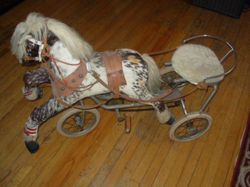 Rare Vintage Childs Toy Ride On Pedal Horse Sulky Tricycle