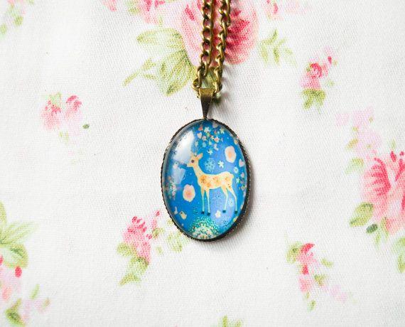 Deer Necklace, Deer Pendant, Retro Necklace, Cute Necklace, Antique Bronze, Vintage Brass, Kawaii Necklace, Glass Cabochon, Vintage Deer