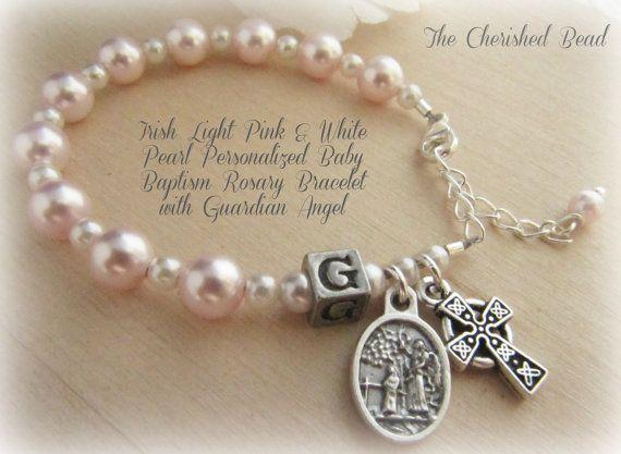 Bebé católico irlandés niña bautismo luz rosa por TheCherishedBead