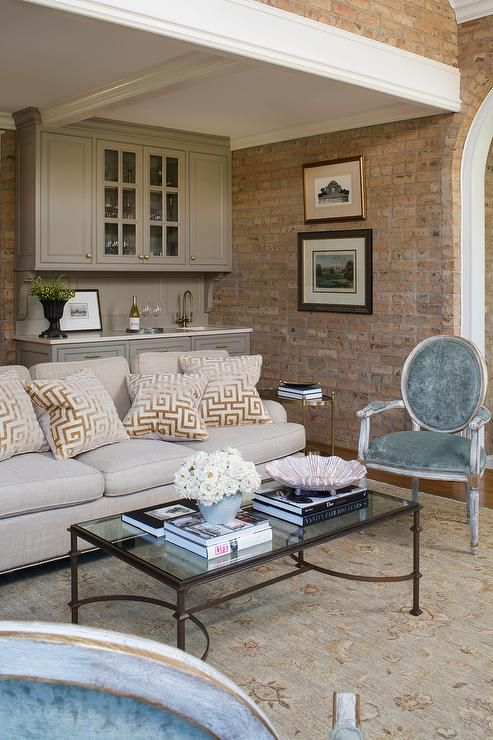 fabulous taupe living room furniture | Fabulous living room features a light gray linen sofa ...