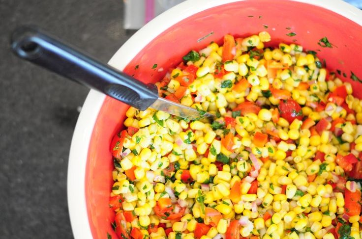 the driveway of Life: Cilantro Corn Salad {Gluten Free}    I made this with turkey tacos for dinner. It was a huge hit as a side and in the tacos.