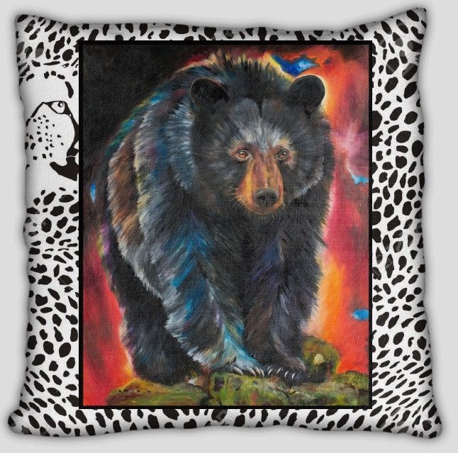 Bear Pillow with cheetah background