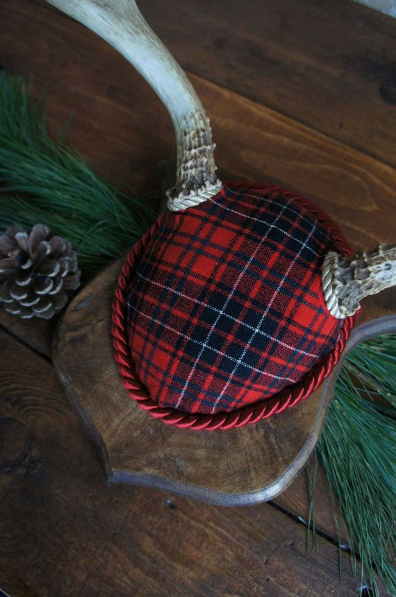 Vintage Deer Antler Mount Red Black Christmas Plaid