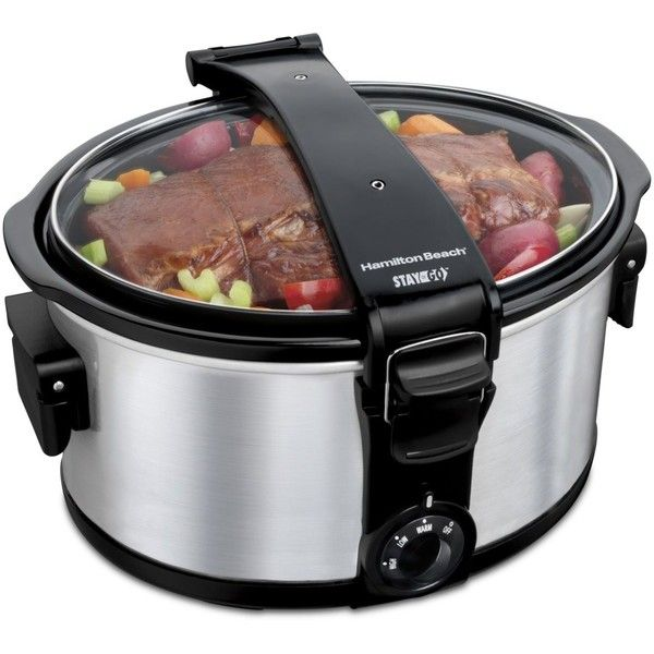 Hamilton Beach Stay or Go 7-Qt. Portable Slow Cooker (325 SEK) ❤ liked on Polyvore featuring home, kitchen & dining, small appliances, silver, hamilton beach slow cooker, hamilton beach crock pot, hamilton beach cooker and hamilton beach