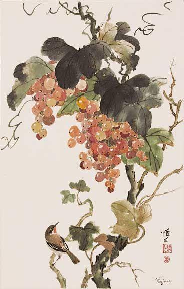 Virginia Lloyd-Davies.Chinese Brush Painting: grapes & bird