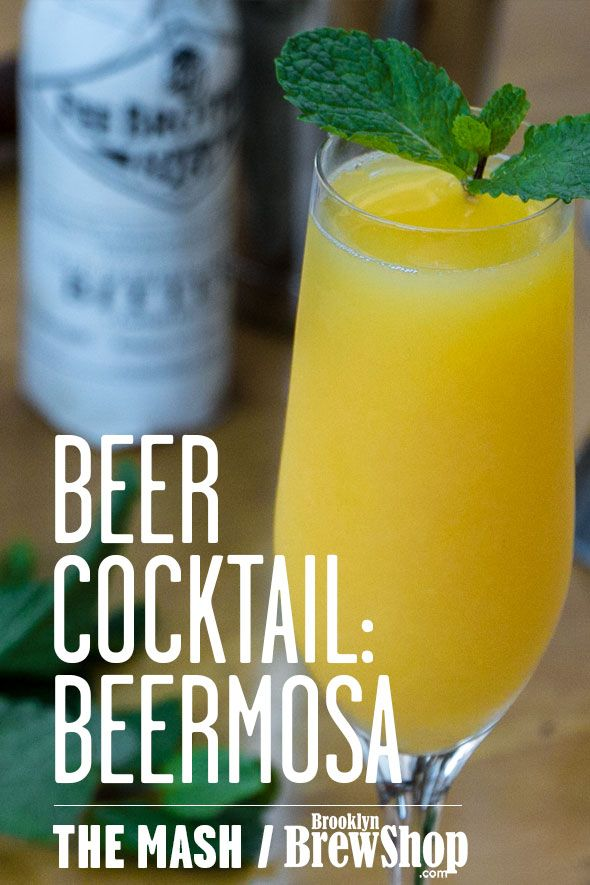 So simple! OJ, a dry Belgian-style ale, a splash of bitters, a sprig of herbs, and you've conquered boozy brunch. Craft beer mimosa!