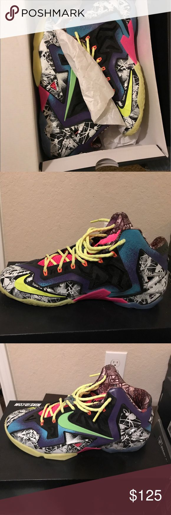 """2014 what the Lebron 11's 2014 edition of the lebron 11's with the """"what the lebron"""" color way. Piece of every lebron shoe from 2014 jumbled into one shoe. Lightly worn and factory laced Shoes Athletic Shoes"""