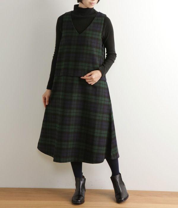 起毛ブラックウォッチジャンパースカート(グリーン) ❤