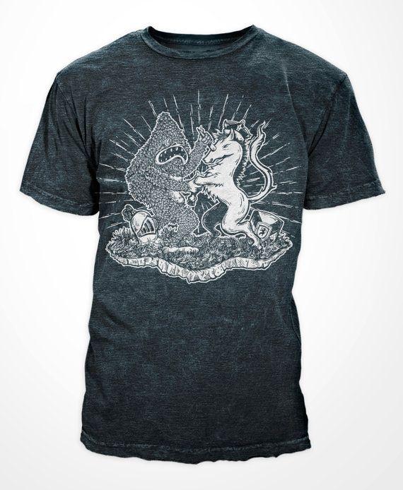 Yeti VS Unicorn  Tri-Blend Indigo  Mens Tshirt by QuarrelsomeYeti